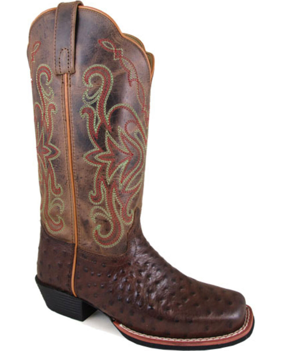 """Smoky Mountain Women's Belle 11"""" Crackle Leather Cowgirl Boots - Square Toe, Brown, hi-res"""