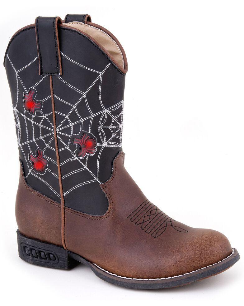 Roper Boys' Light Up Spider Web Cowboy Boots - Round Toe, Brown, hi-res