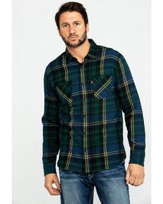 Levi's Men's Green Dawson Plaid Button Long Sleeve Western Flannel Shirt , Dark Green, hi-res