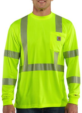 Carhartt Force High-Visibilty Class 3 Long Sleeve T-Shirt - Big & Tall, Lime, hi-res