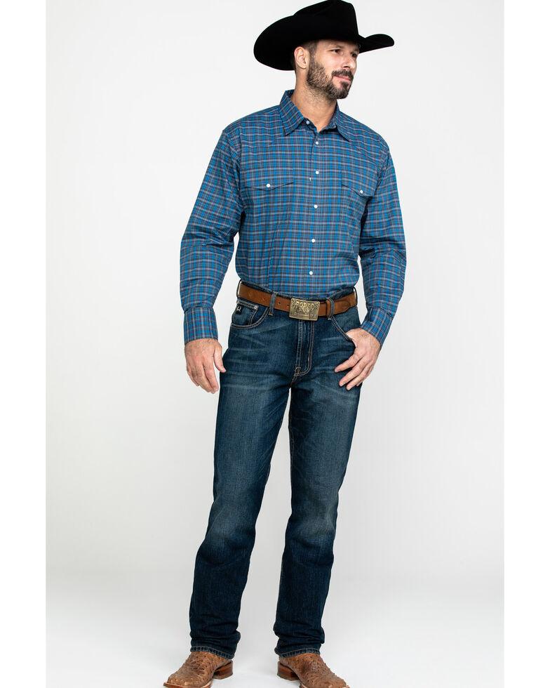 Wrangler Men's Wrinkle Plaid Small Multi Plaid Long Sleeve Western Shirt , Blue, hi-res