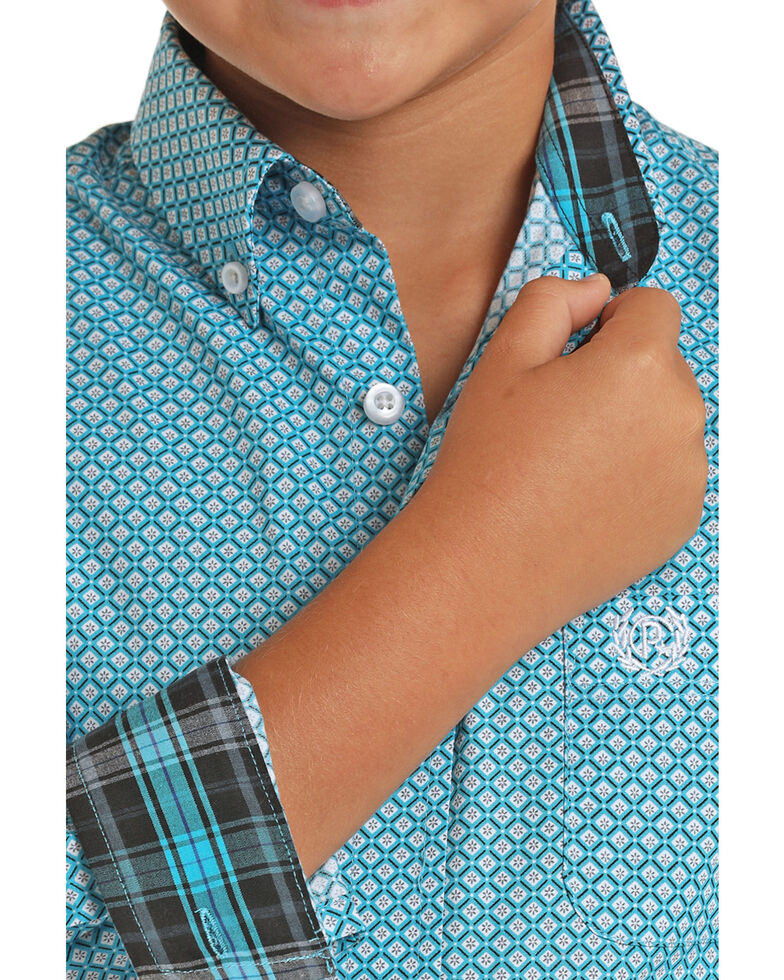 Panhandle Select Boys' Blue Brushed Geo Print Long Sleeve Western Shirt , Turquoise, hi-res