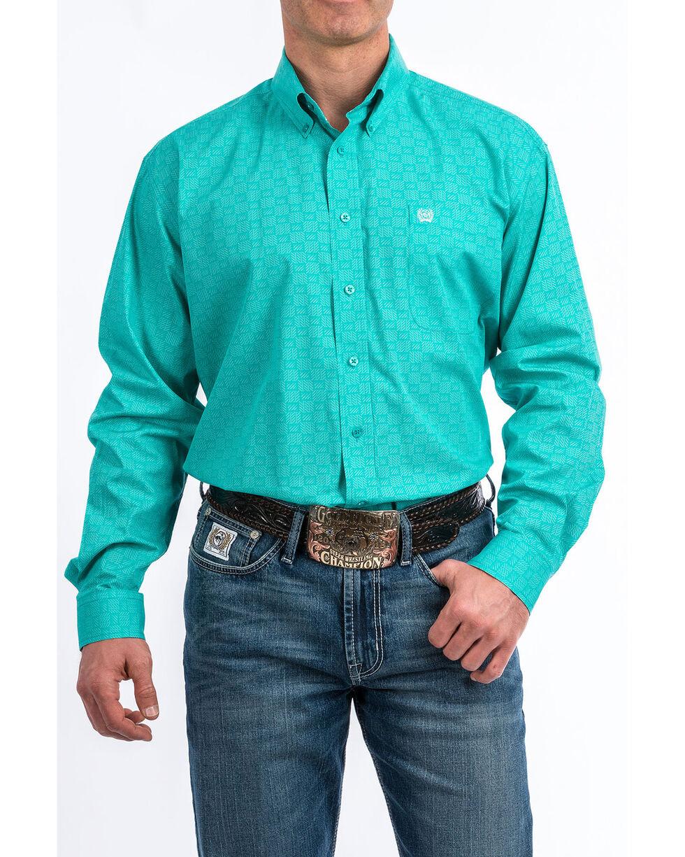 Cinch Men's Turquoise Dot Tencel Geo Print Long Sleeve Western Shirt  , Turquoise, hi-res