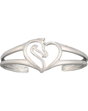 Montana Silversmiths Equestrian Heart Cuff Bracelet, Silver, hi-res