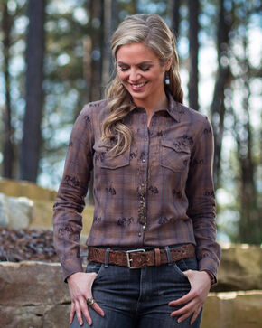 Ryan Michael Women's Ombre Plaid Bucking Horse Shirt , Brown, hi-res
