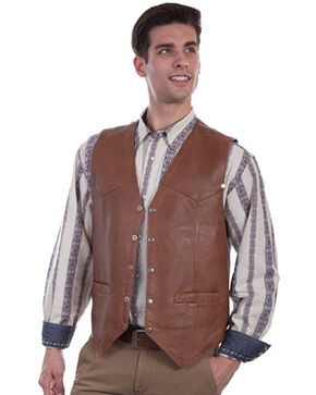 Scully Men's Lambskin Leather Suede Snap Front Vest , Tan, hi-res