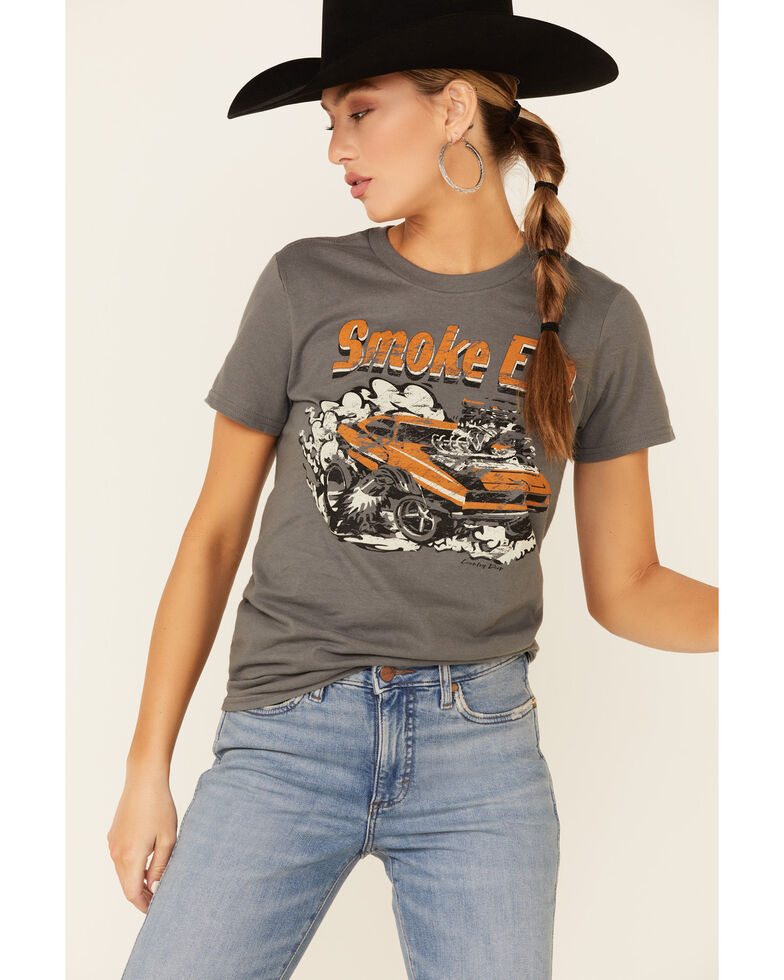 Country Deep Women's Muscle Car Smoke Em Graphic Short Sleeve Tee , Charcoal, hi-res