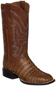 Lucchese Handmade Tan Sean Belly Caiman Cowboy Boots - Square Toe , Tan, hi-res
