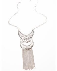 Shyanne Women's Moonlit Linear Row Laser Cut Swag Choker Necklace , Silver, hi-res