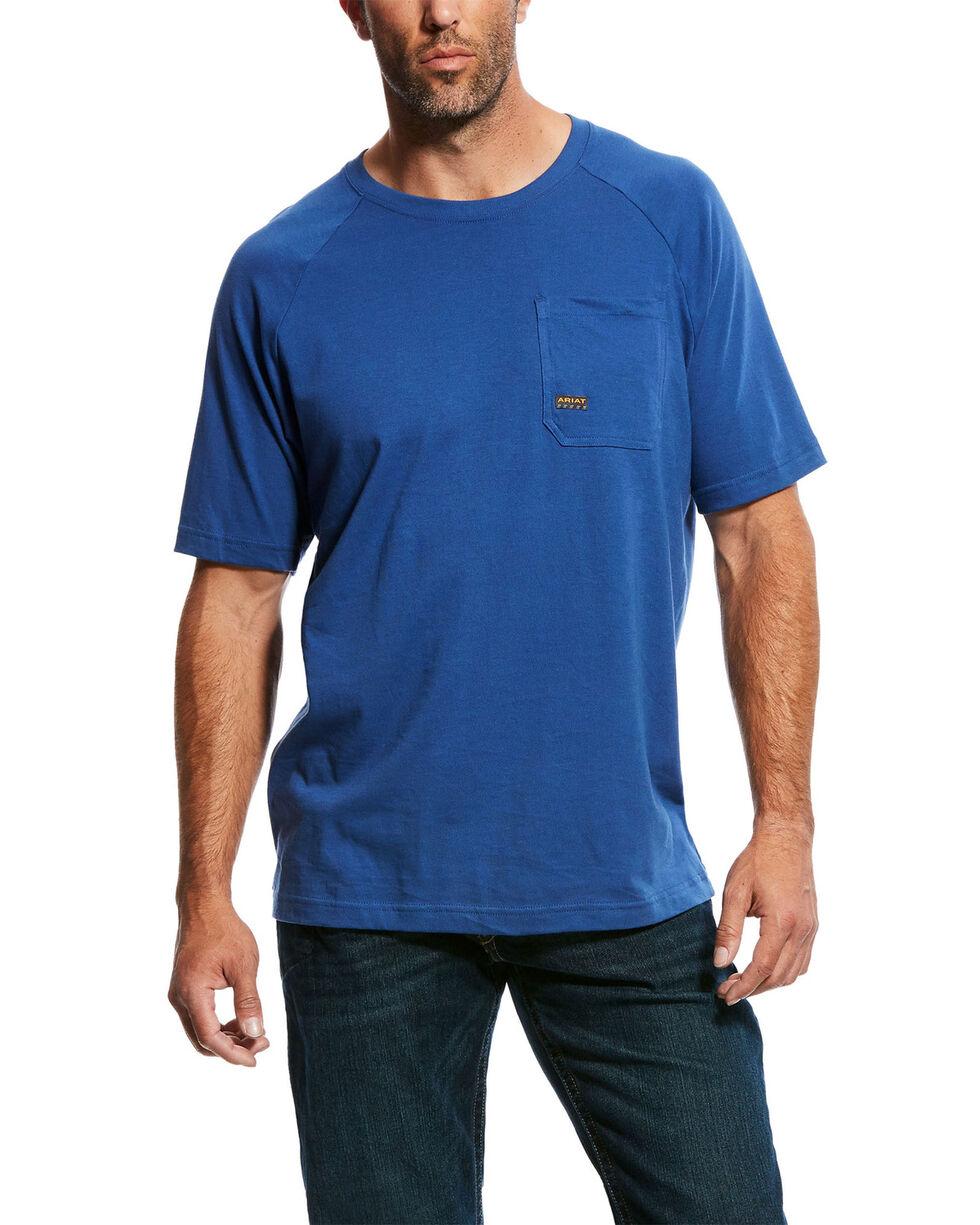 Ariat Men's Metal Blue Rebar Cotton Strong Short Sleeve Crew Work Shirt , Blue, hi-res