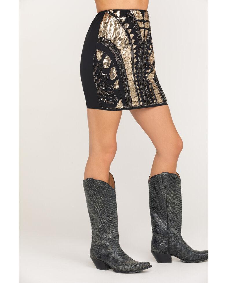 Molly Bracken Women's Gold & Black Pattern Sequin Mini Skirt, Gold, hi-res