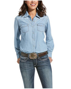 Ariat Women's Indigo R.E.A.L. Fierce Long Sleeve Shirt, Blue, hi-res