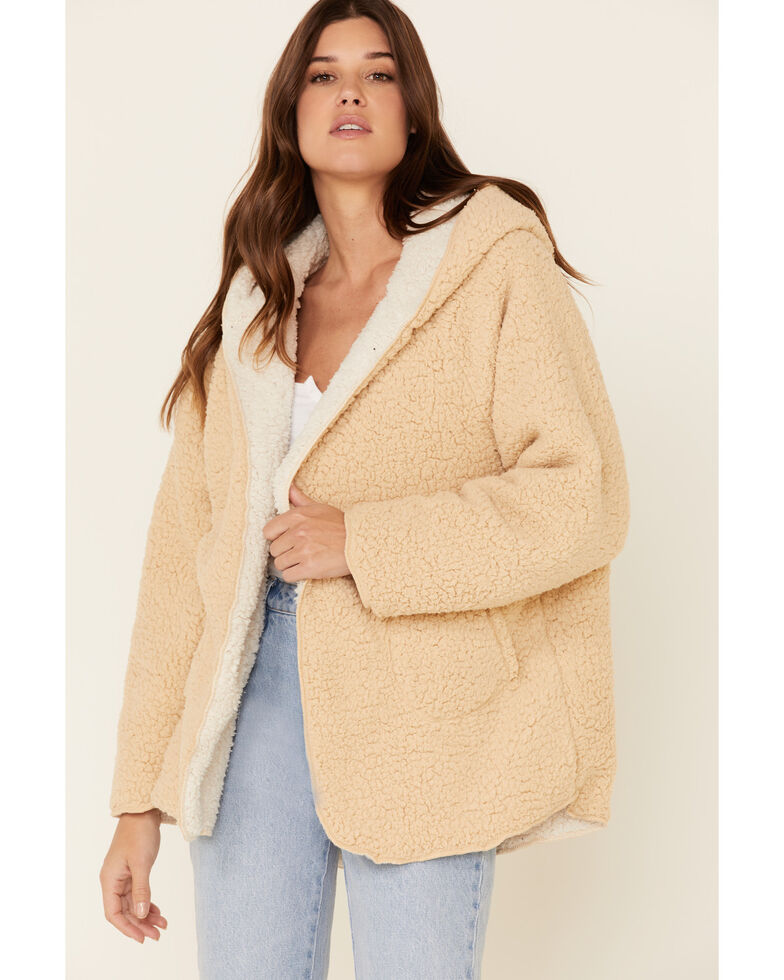 Very J Women's Open Front Reversible Sherpa Jacket , Taupe, hi-res
