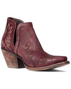 Ariat Women's Distressed Weathered Brown Dixon Western Fashion Bootie - Snip Toe, Red, hi-res