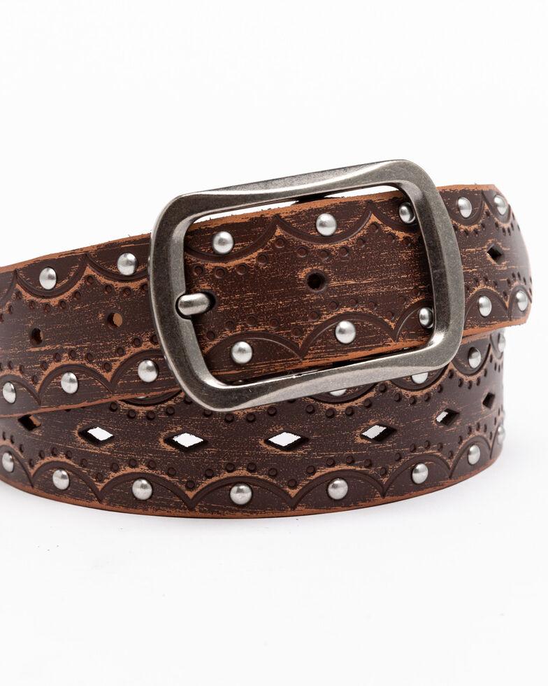 Shyanne Women's Embossed Studded Belt, Brown, hi-res