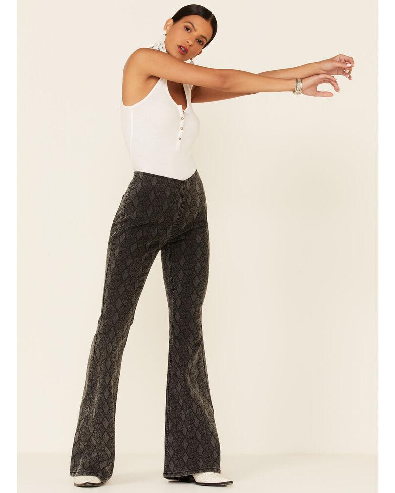 Rock & Roll Denim Women's Snake Print Bargain Bell High Rise Flare Jeans, Charcoal, hi-res