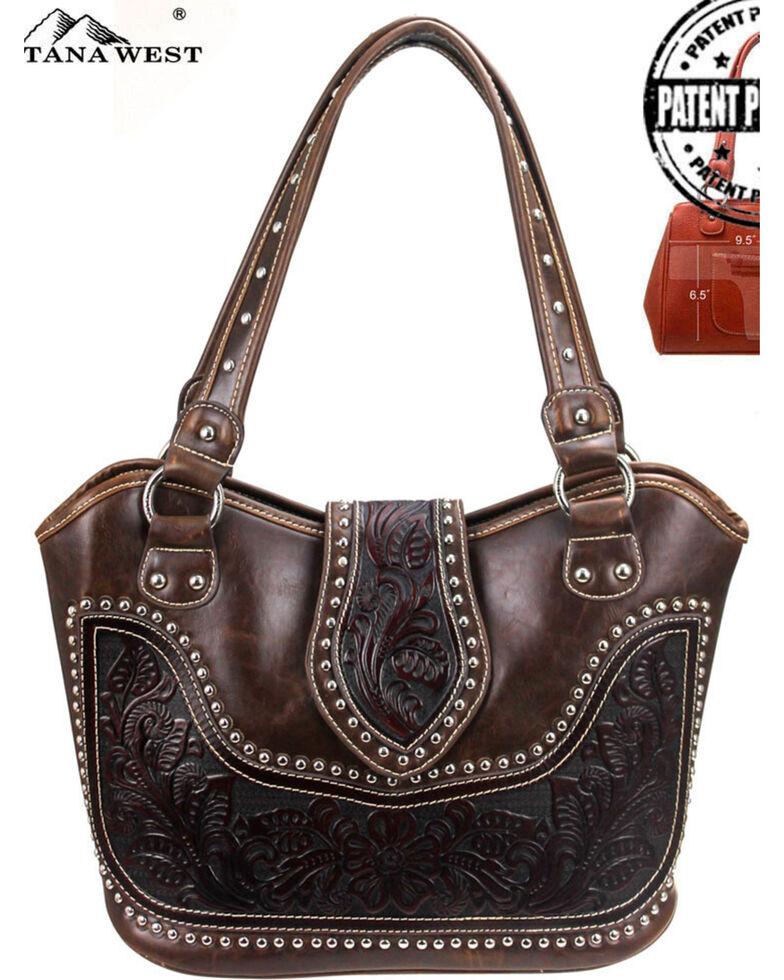 Montana West Women's Genuine Tooled Leather Concealed Carry Handbag , Dark Brown, hi-res
