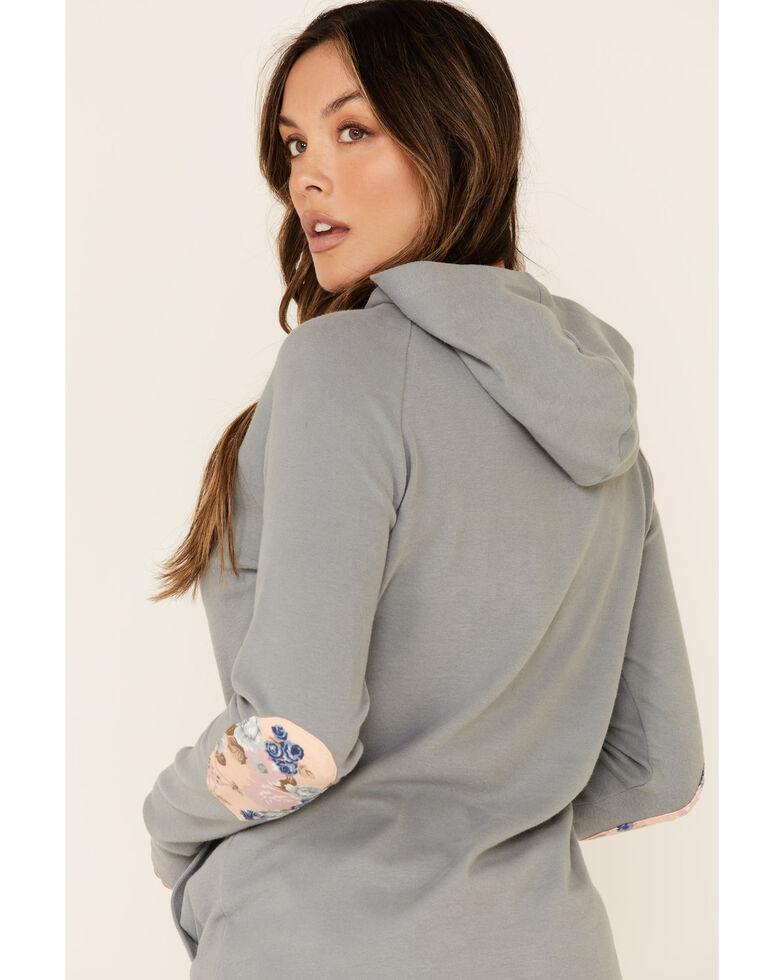 Ampersand Avenue Women's Blue Floral Elbow Patch Hooded Sweatshirt , Blue, hi-res