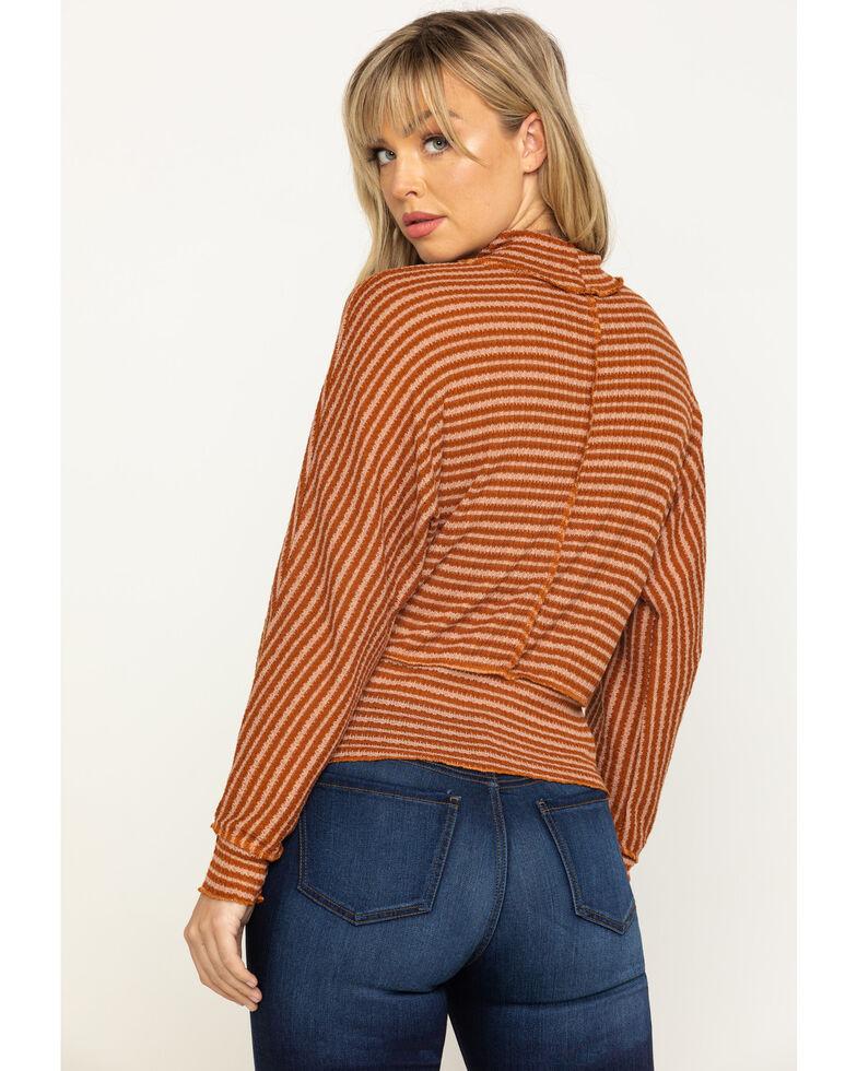 Eyeshadow Women's Rust Stripe Hacci Crop Top , Rust Copper, hi-res