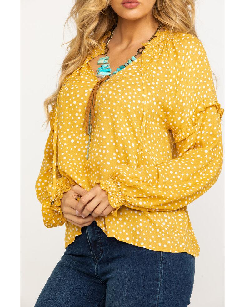 Eyeshadow Women's Mustard Polka Dot Long Sleeve Top, Dark Yellow, hi-res
