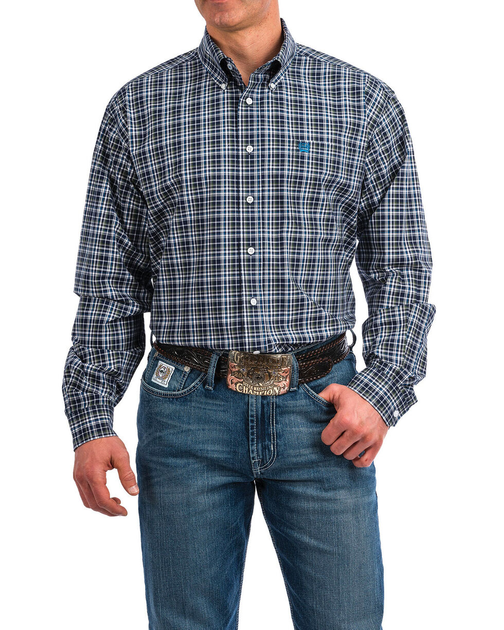 Cinch Men's Plaid Long Sleeve Western Shirt , Navy, hi-res