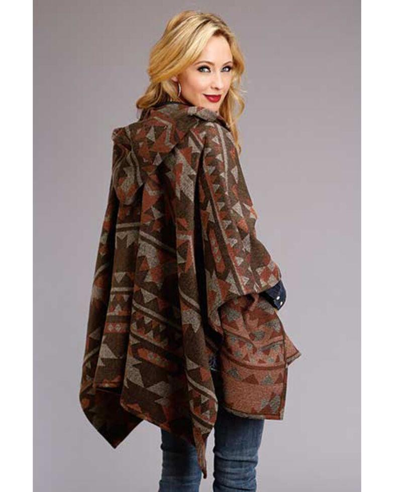 Stetson Women's Brown Serape Print Hooded Blanket Wrap, Brown, hi-res