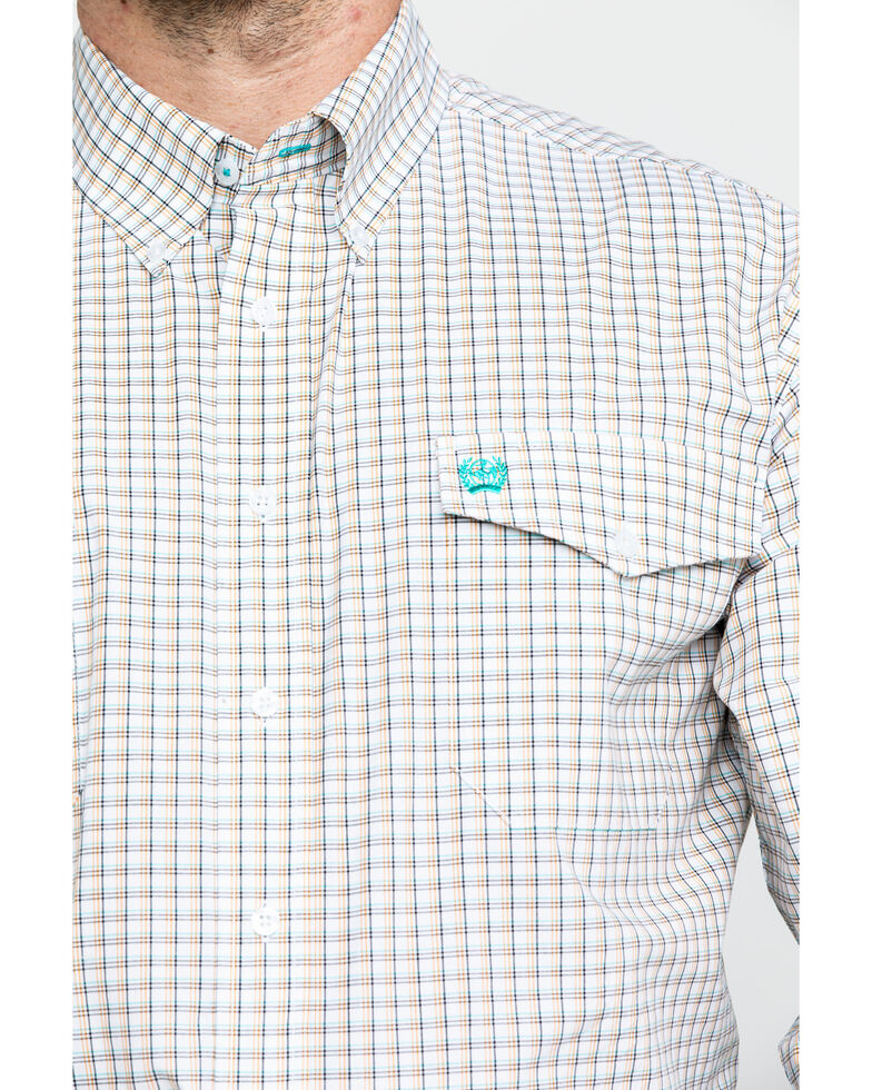 Cinch Men's White Check Plaid Long Sleeve Western Shirt , White, hi-res