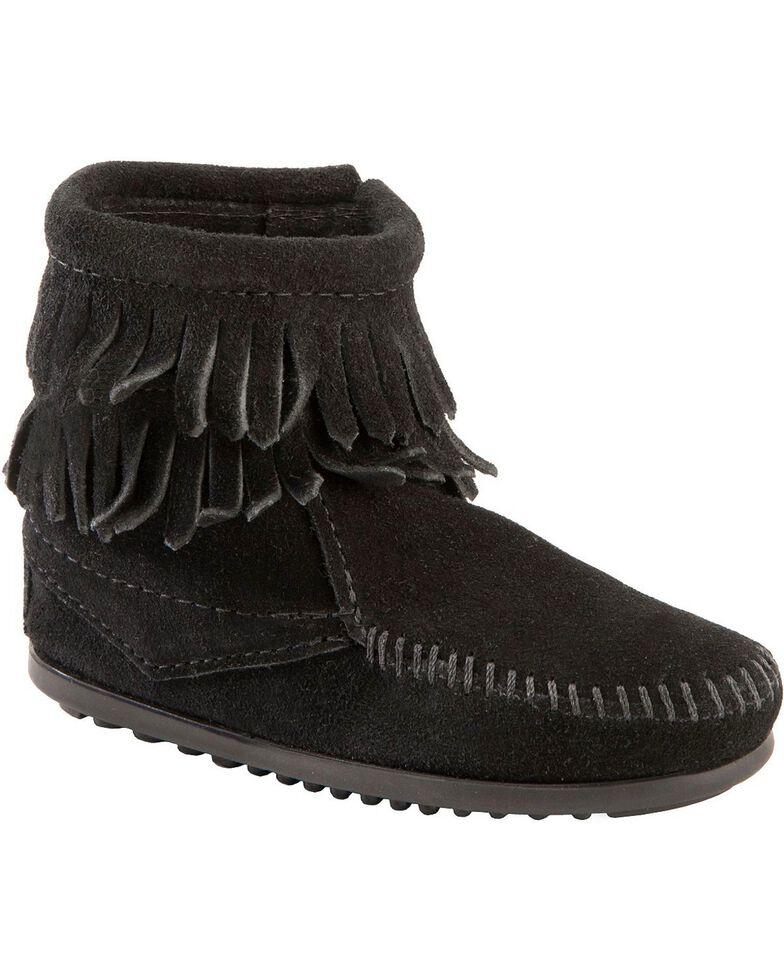 Minnetonka Girls' Double Fringe Side-Zip Moccasin Boot, Black, hi-res