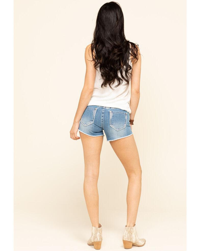 Shyanne Women's Medium Basic Raw Hem Shorts, Blue, hi-res