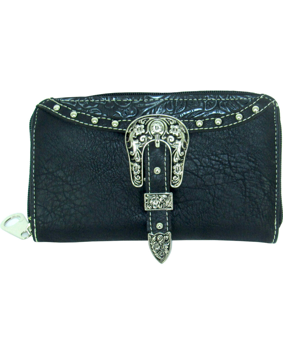 Savana Women's Embossed Trim Buckle Zip-Around Wallet, , hi-res