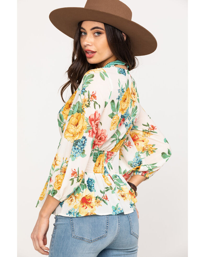 Flying Tomato Women's Floral Smocked Waist Blouse, Ivory, hi-res