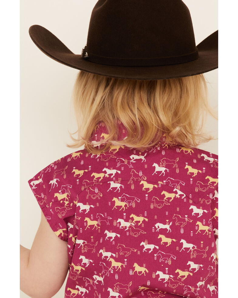 Shyanne Toddler Girls' Fuchisa Horse Print Tie-Front Sleeveless Western Shirt , Fuscia, hi-res