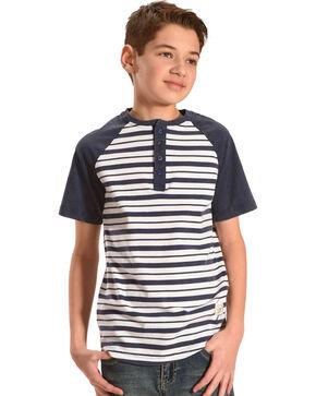 Silver Boys' Navy Raglan Striped Henley Tee, Navy, hi-res