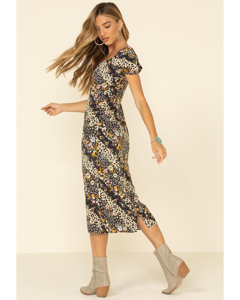 Others Follow Women's Floral Leopard Mixed Print Midi Dress , Black, hi-res