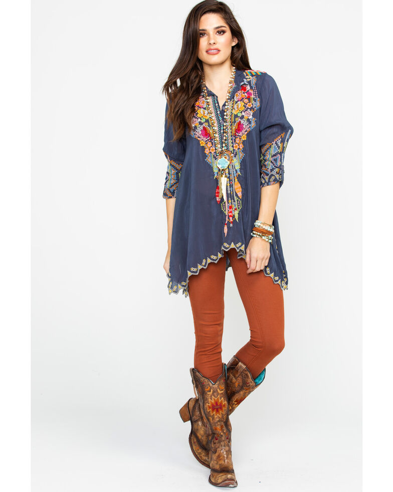 Johnny Was Women's Long Sleeve Festival Tunic, Charcoal, hi-res