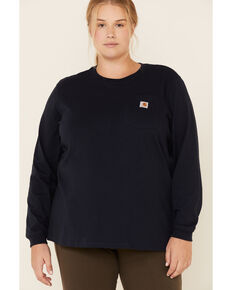 Carhartt Women's Workwear Pocket Long-Sleeve T-Shirt - Plus, Navy, hi-res