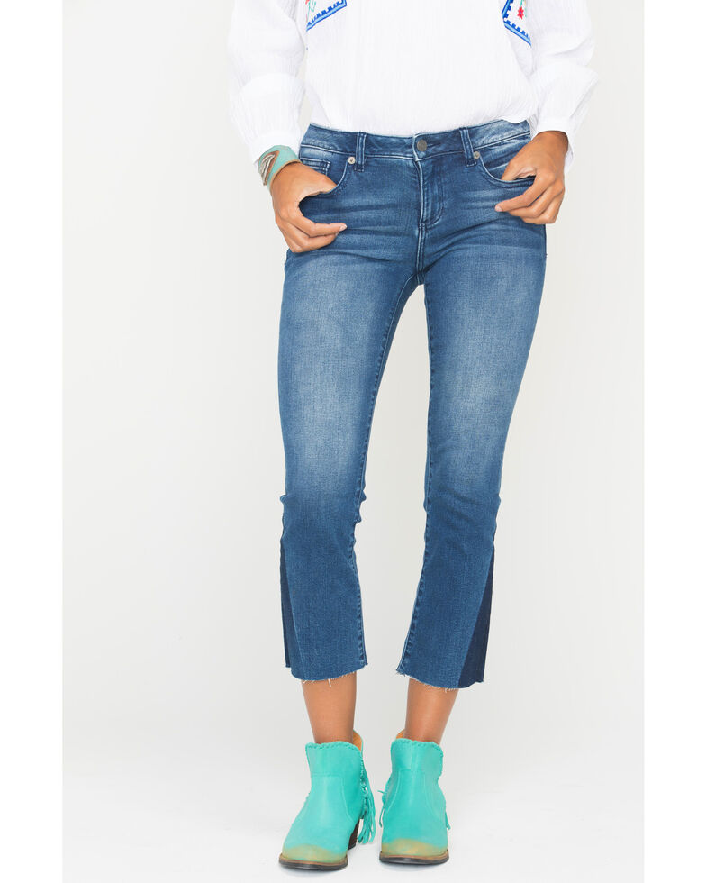 Miss Me Women's Get On My Level Mid-Rise Crop Bootcut Jeans , Indigo, hi-res