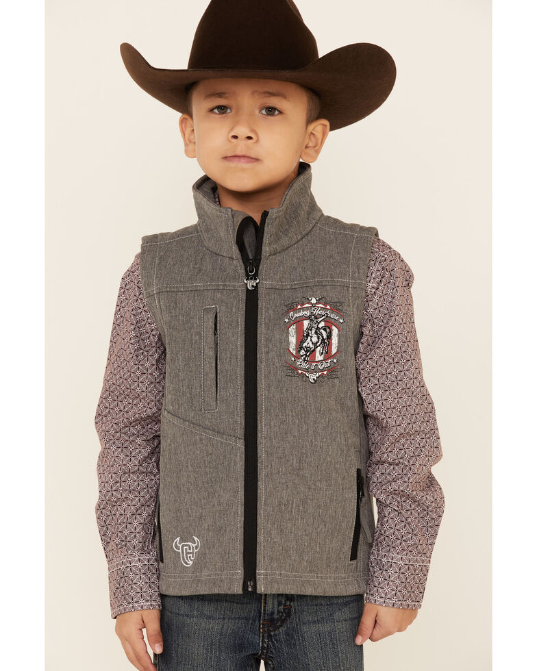 Cowboy Hardware Boys' Ride It Out Zip-Front Softshell Vest , Grey, hi-res