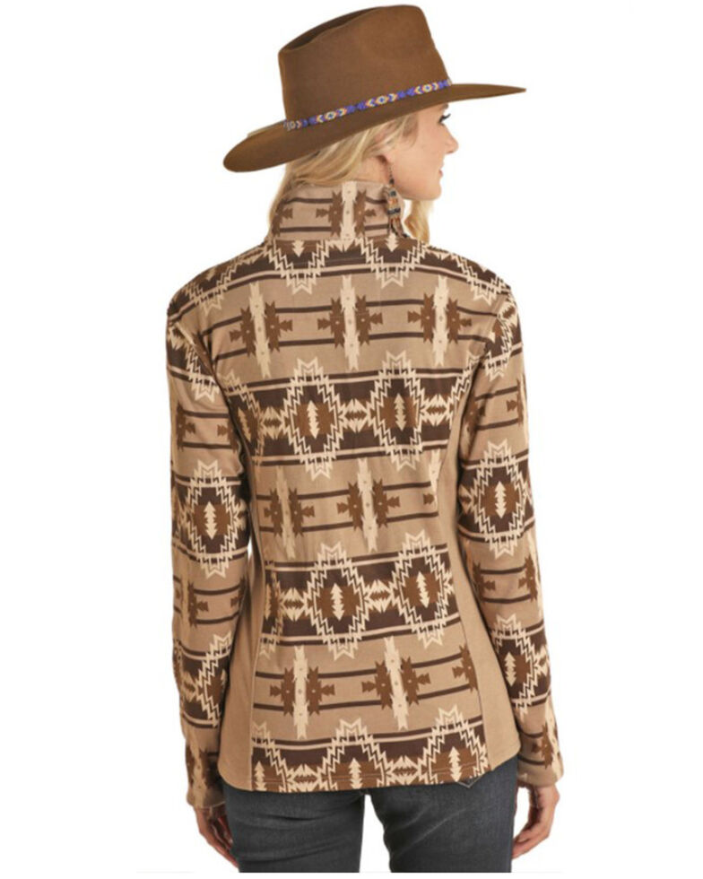 Powder River Outfitters Women's Brown Aztec Print Henley Pullover , Brown, hi-res