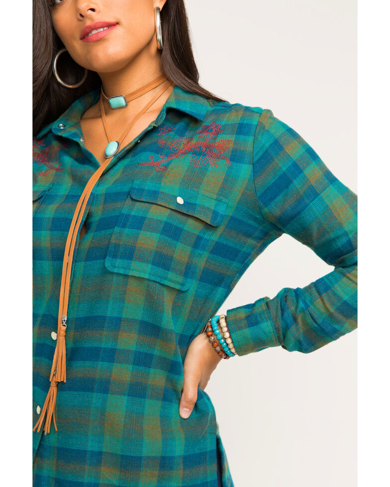 Idyllwind Women's Tumbleweed Flannel Top, Teal, hi-res