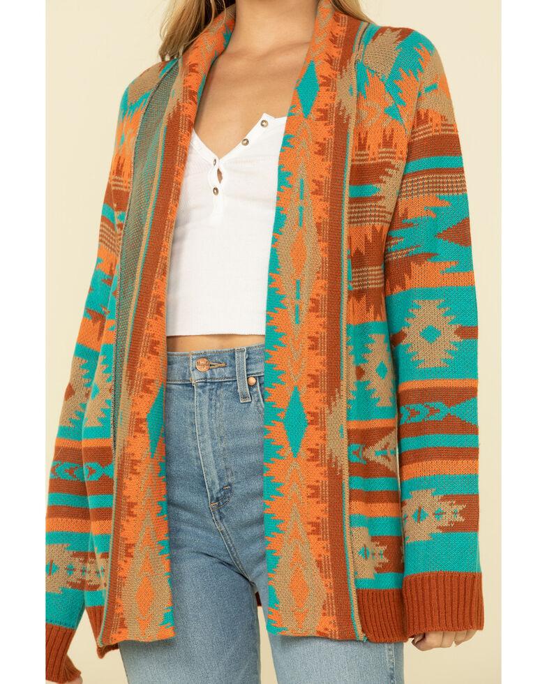 Rock & Roll Denim Women's Rust Aztec Open Front Cardigan , Rust Copper, hi-res