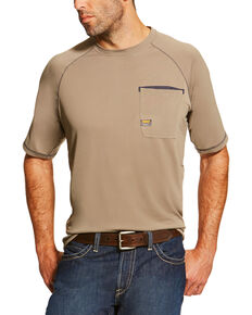 Ariat Men's Khaki Rebar Sunstopper Short Sleeve Pocket Tee - Tall, Beige/khaki, hi-res