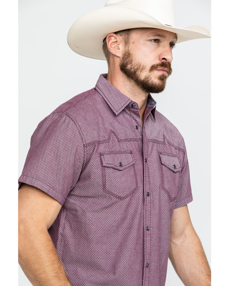 Moonshine Spirit Men's Bloodline Textured Solid Short Sleeve Western Shirt , Burgundy, hi-res