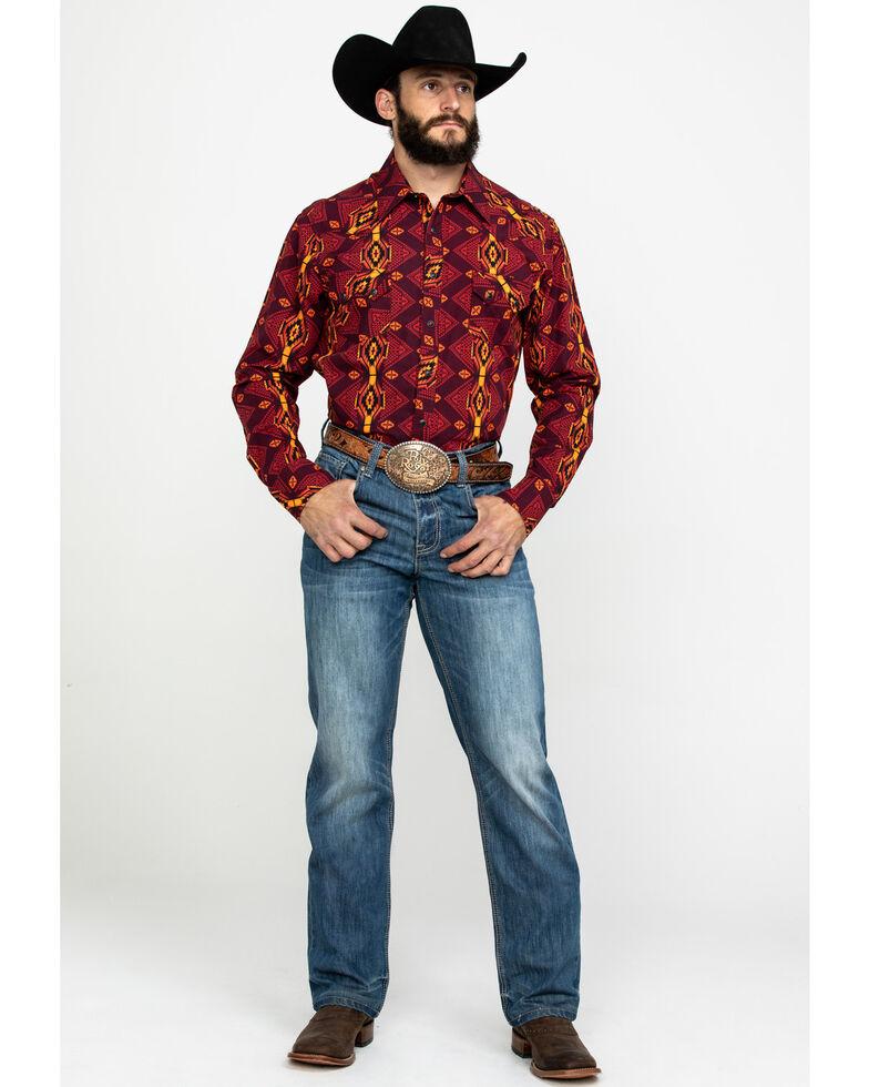 Dale Brisby Men's Vertical Aztec Print Long Sleeve Western Shirt , Burgundy, hi-res