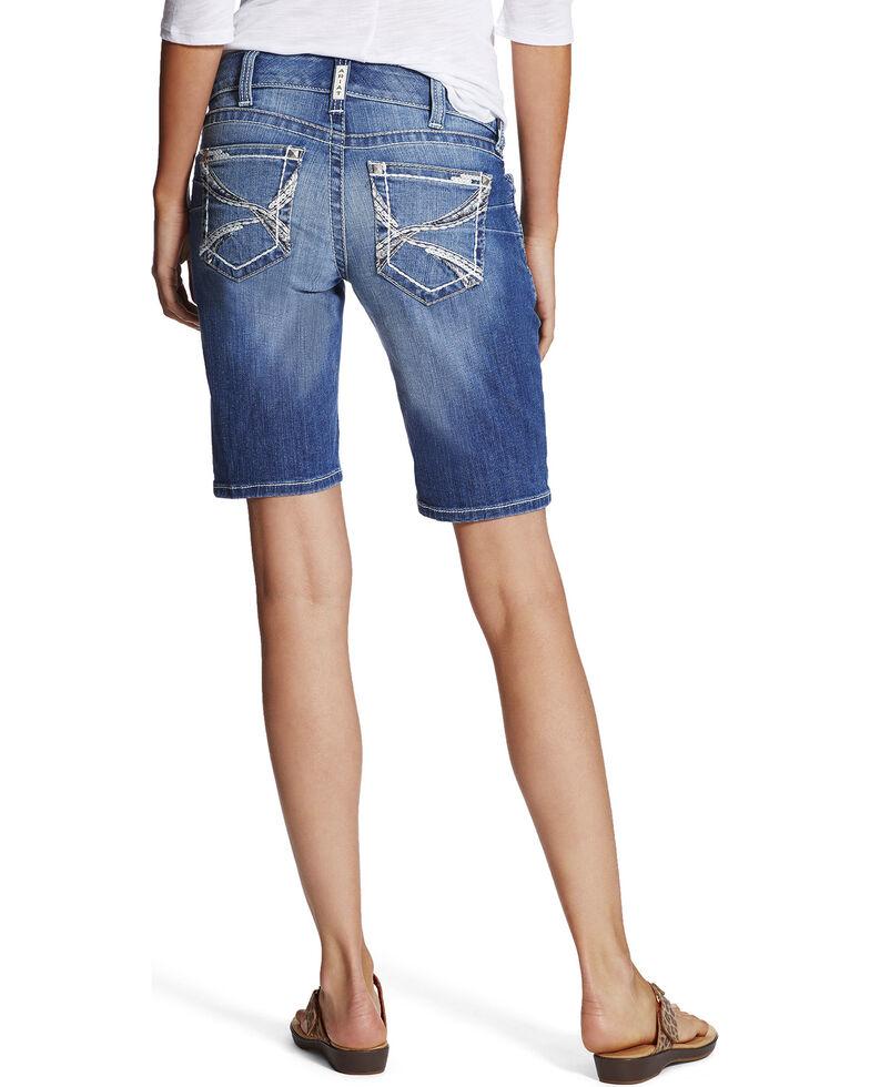Ariat Women's Blue Mid-Rise Bermuda Crane Shorts , Blue, hi-res