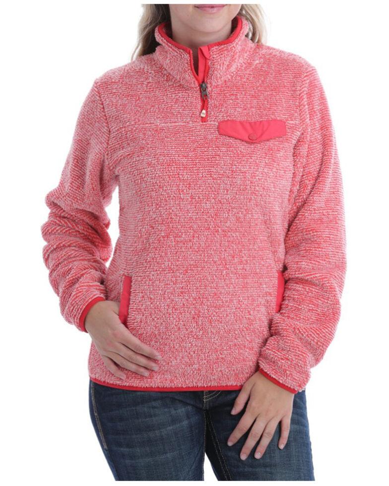 Cinch Women's Coral Two-Tone Fleece Pullover , Coral, hi-res