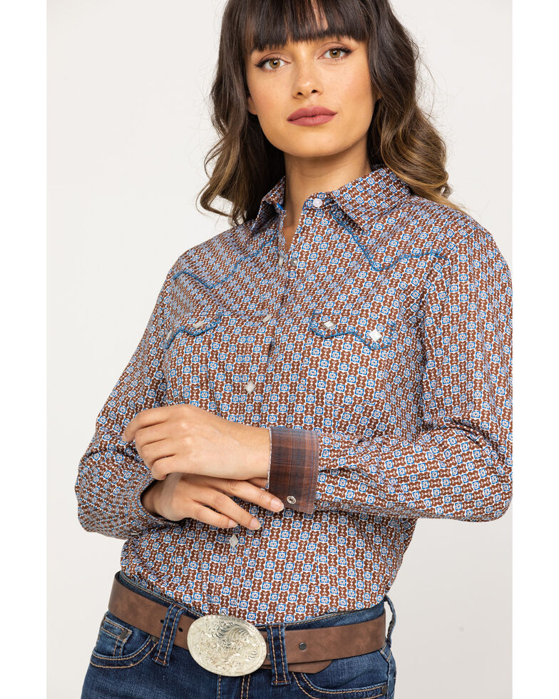 Rough Stock by Panhandle Women's Brown Geo Print Long Sleeve Shirt, Brown, hi-res