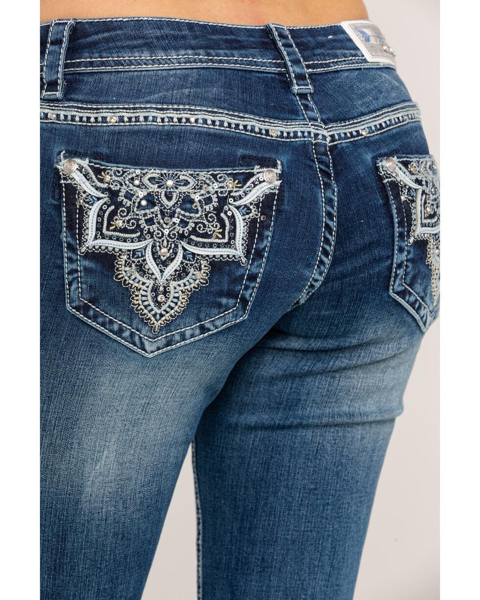 "Grace in LA Women's Dark Low Boot Medallion Bling 32"" Jeans, Blue, hi-res"