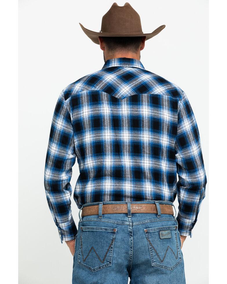 Ely Cattleman Men's Blue Large Plaid Long Sleeve Western Shirt , Blue, hi-res