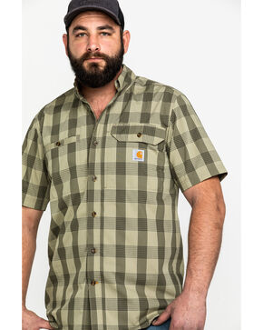 Carhartt Men's Olive Rugged Flex Rigby Short Sleeve Plaid Work Shirt , Olive, hi-res